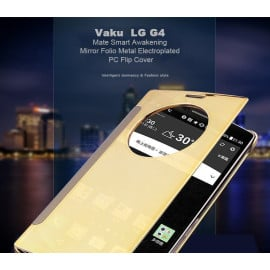 Vaku ® LG G4 Mate Smart Awakening Mirror Folio Metal Electroplated PC Flip Cover
