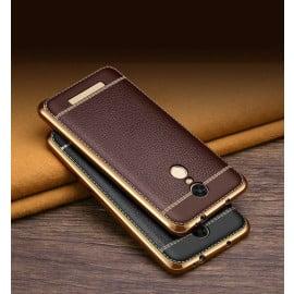 VAKU ® XIAOMI Redmi Note 3 Leather Stitched  Gold Electroplated Soft TPU Back Cover