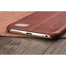 Vaku ® Oppo NEO 7 Lexza Series Double Stitch Leather Shell with Metallic Logo Display Back Cover