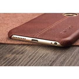 Vorson ® Apple iPhone 6 / 6S Lexza Series Double Stitch Leather Shell with Metallic Logo Display Back Cover