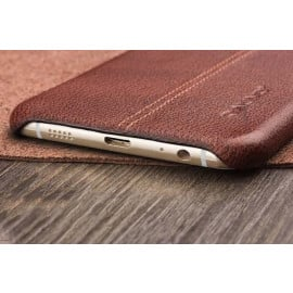 Vorson ® Samsung Galaxy S7 Edge Lexza Series Double Stitch Leather Shell with Metallic Camera Protection Back Cover