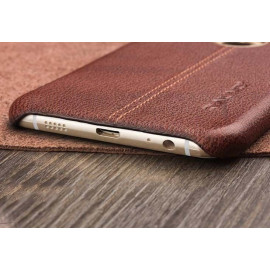 Vaku ® Samsung A7 (2016) Lexza Series Double Stitch Leather Shell with Metallic Logo Display Back Cover