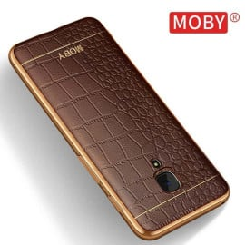 VAKU ® One Plus 3 / 3T European Leather Stiched Gold Electroplated Soft TPU Back Cover