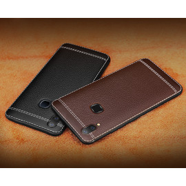 Vaku ® Vivo V9 Leather Stitched Gold Electroplated Soft TPU Back Cover