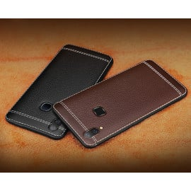 Vaku ® Vivo Y85 Leather Stitched Gold Electroplated Soft TPU Back Cover