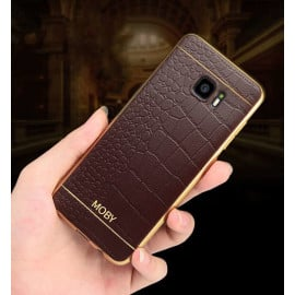 Vaku ® Samsung Galaxy A9 Pro European Leather Stitched Gold Electroplated Soft TPU Back Cover