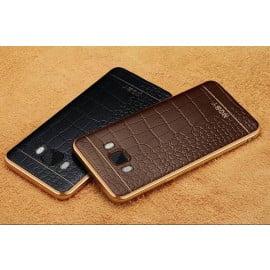 VAKU ® Samsung J7 (2016) European Leather Stitched Gold Electroplated Soft TPU Back Cover