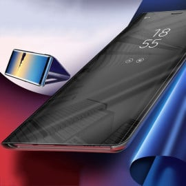 Vaku ® Redmi Note 9 Pro Max Mate Smart Awakening Mirror Folio Metal Electroplated PC Flip Cover