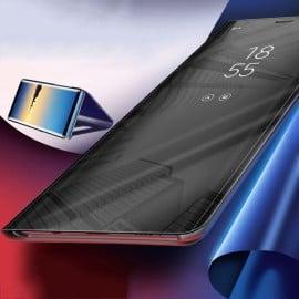 Vaku ® Vivo Y19 Mate Smart Awakening Mirror Folio Metal Electroplated PC Flip Cover