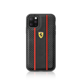 Ferrari ® Apple iPhone 11 Pro Max Carbon Vertical Stripe with Leather + Carbon Fibre Material