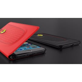 Ferrari ® Apple iPhone 8 Official California T Series Double Stitched Dual-Material PU Leather Flip Cover