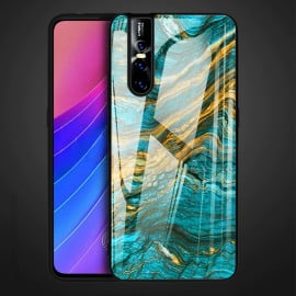 VAKU ® Vivo V15 Pro Quin Marble Series Ultra-Shine Luxurious Tempered Finish Silicone Frame Thin Back Cover