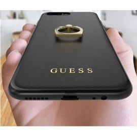 GUESS ® Apple iPhone 8 Plus Prama Paris Series Pure Leather 2K Gold Electroplated + inbuilt ring stand Back Case