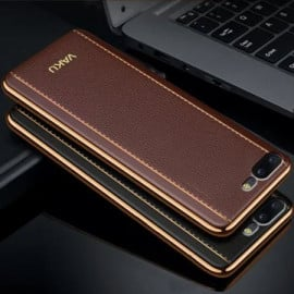 Vaku ® OnePlus 5 Vertical Leather Stitched Gold Electroplated Soft TPU Back Cover