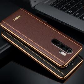 Vaku ® Xiaomi Redmi Note 8 Pro Vertical Leather Stitched Gold Electroplated Soft TPU Back Cover