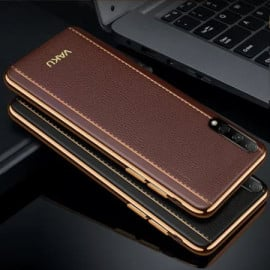 Vaku ® Huawei Honor 9X Pro Vertical Leather Stitched Gold Electroplated Soft TPU Back Cover