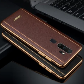 Vaku ® Oppo A5 2020 Vertical Leather Stitched Gold Electroplated Soft TPU Back Cover