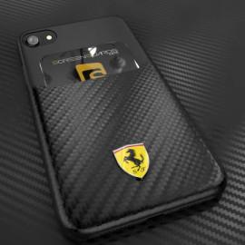 Ferrari ® Apple iPhone SE 2020 SP America series Carbon fibre finish - inbuilt Credit card Holder Back Cover
