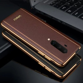 Vaku ® Oneplus 7T Pro Vertical Leather Stitched Gold Electroplated Soft TPU Back Cover