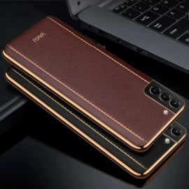 Vaku ® Samsung Galaxy S21 Plus Vertical Leather Stitched Gold Electroplated Soft TPU Back Cover