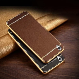 VAKU ® VIVO Y51 L Leather Stitched Gold Electroplated Soft TPU Back Cover