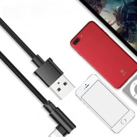 Rock ® L-Shaped Nylon Braided Fast Charging Lightning Data Cable