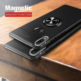 Vaku ® Xiaomi Redmi Note 7 / Note 7 Pro Ring Holder Auto Focus Leather Stitched Soft Silicone 4 Frames plus ultra-thin case transparent cover
