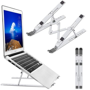 eller santé ® Portable Laptop Stand, Foldable Ergonomic 7-Angle Adjustable Aluminum Alloy, Compatible with MacBook,iPad,HP,Dell 10-15.6 in Notebook Computer Book Phone-Silver
