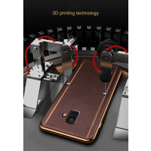 Vaku ® Samsung Galaxy A6 Vertical Leather Stitched Gold Electroplated Soft TPU Back Cover