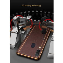 Vaku ® Samsung Galaxy A20 / A30 Vertical Leather Stitched Gold Electroplated Soft TPU Back Cover