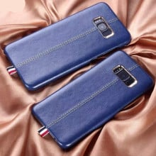Vorson ® Samsung Galaxy S8 Lexza Series Double Stitch Leather Shell with Metallic Camera Protection Back Cover