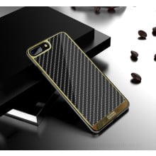 VAKU ® Apple iPhone 8 Plus Carbon Fibre with Golden Electroplated layering hard PC Back Cover