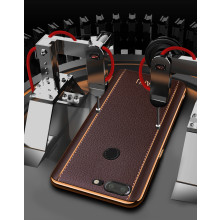 Vaku ® OnePlus 5T Vertical Leather Stitched Gold Electroplated Soft TPU Back Cover