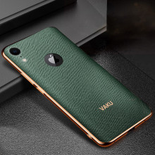 Vaku ® Apple iPhone XR Cross Grain Leather Gold Electroplated Soft TPU Back Cover