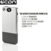 CDN ® Apple iPhone 5 / 5S / SE 2in1 Inbuilt Macro Zoom Lens Kit + Dual Protection Case Back Cover
