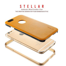 Stellar ® Apple iPhone 6 Plus / 6S Plus G.Lider Ultra-thin Aluminium Metal Bumper Authentic Genuine Leather Back Cover