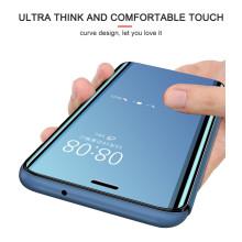 Vaku ® OnePlus 5T Mate Smart Awakening Mirror Folio Metal Electroplated PC Flip Cover