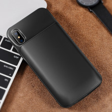 Rock ® iPhone X Battery Case Top TPU Material High Power 6,000 mAh Wire-Less Battery Case Black