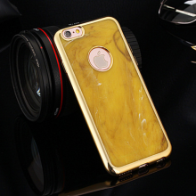 MeePhone ® Apple iPhone 6 / 6S Jade Precious Stone Finish Gold Electroplated Bumper + Metallic Logo Display Silicon Back Cover