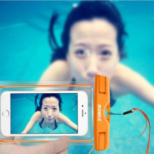 """Romix ® Universal upto 5.5"""" Water-proof Lock Sealed Under-Water Snow-Proof Weather Proof Soft Silicon Protection TPU Bag with Neck Strap Pouch Case"""