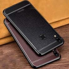 Vaku ® Vivo V9 Leather Stitched Gold Electroplated Soft TPU Back Cover