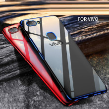 Vaku ® Vivo V7 Plus CAUSEWAY Series Electroplated Shine Bumper Finish Full-View Display + Ultra-thin Transparent Back Cover