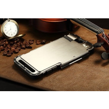Armor King ® Apple iPhone 6 / 6S Iron Man Argus Series Stainless Steel Shell Riveted Leather + Metal Stand Flip Cover