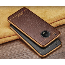 VAKU ®  Motorola Moto G5 Plus European Leather Stiched Gold Electroplated Soft TPU Back Cover
