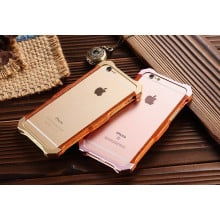 R-JUST ® Apple iPhone 6 / 6S Rosewood Shockproof Aluminium Metal+Wooden Bumper with Leather Veneer Back Cover