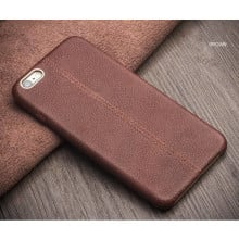 Vaku ® VIVO Y66 Lexza Series Double Stitch Leather Shell with Metallic Logo Display Back Cover