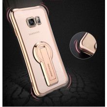 MeePhone ® Samsung Galaxy S7 Edge Metal Electroplated Bumper with FullView Transparent Finish + inbuilt Kickstand Back Cover