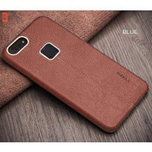Vaku ® Vivo V7 Plus Lexza Series Double Stitch Leather Shell with Metallic Camera Protection Back Cover
