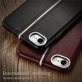 VAKU ® Apple iPhone 8 LEXZA 3rd Series Stitch Leather Shell with Metallic Logo Display Back Cover