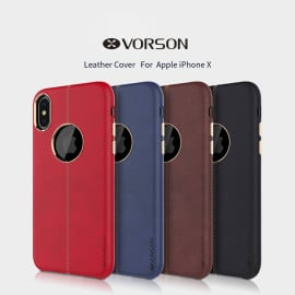 Vorson ® Apple iPhone X / XS Lexza Series Double Stitch Leather Shell with Metallic Logo Display Back Cover